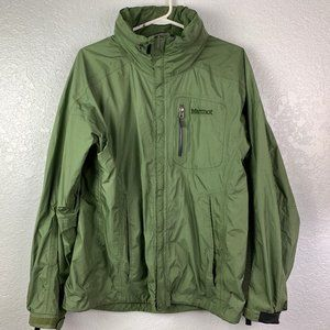 Marmot Mens Green Hooded Windbreaker Size Medium